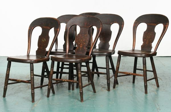 22: Set of six 1830 Empire decorated dining chairs, bal