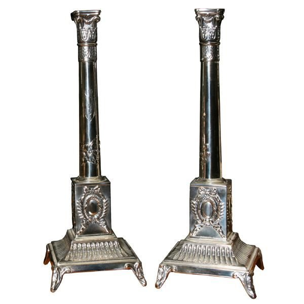 42: Fine pair silver candle sticks, Polish or Russian,