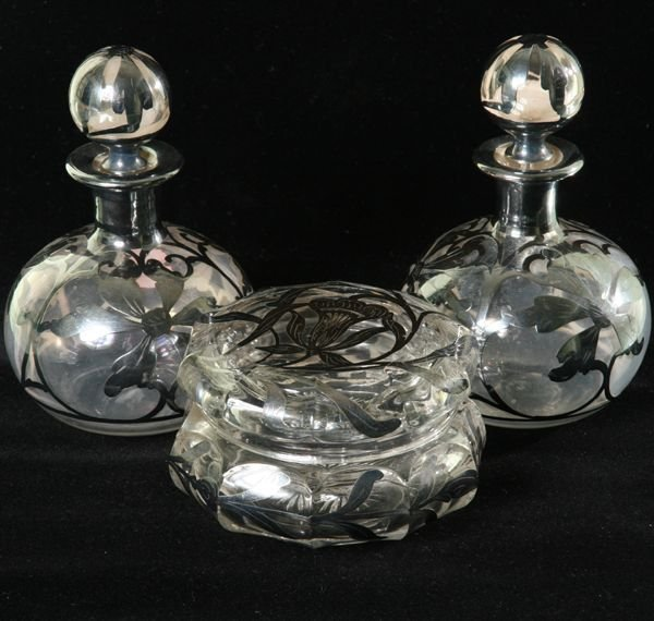 """1003: Three sterling overlay pieces, (1) 4 1/2"""" covered"""