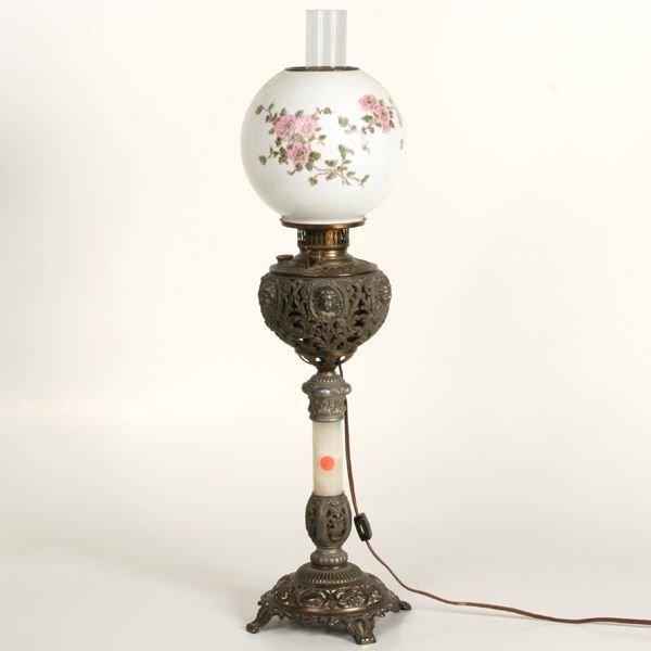 1005: Victorian pedestal banquet lamp, reticulated cast