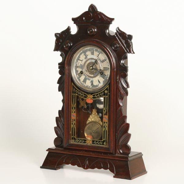 1009: Victorian mantle clock, solid walnut, New Haven C