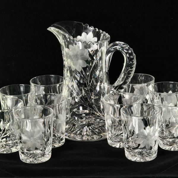 "1012: Large brilliant cut glass water set, 9"" pitcher a"