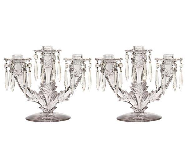 1019: Pair depression glass three arm candlesticks, ped