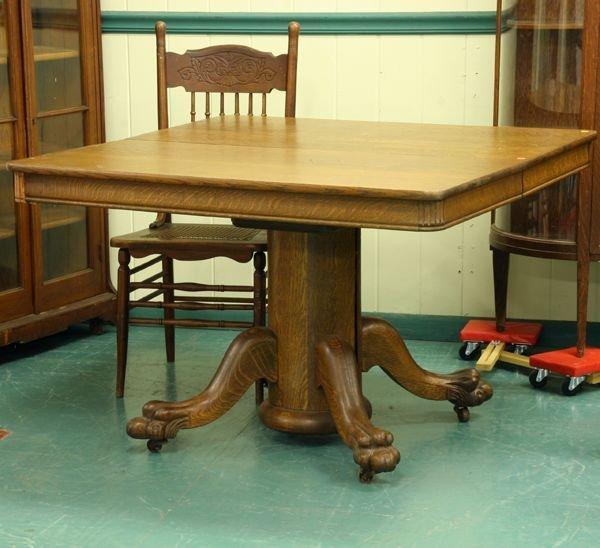 1020: Circa 1900 dining table, solid tiger oak, origina