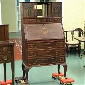 1037: Fine early 1900 Colonial Revival slant lid desk,