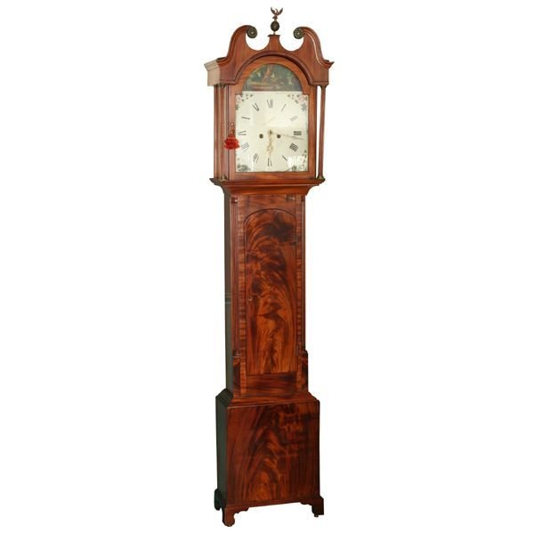 1071: Circa 1800 Scottish tall case clock, beautiful fl
