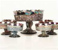 1094: Seven piece carnival glass dessert set, Fenton Gl