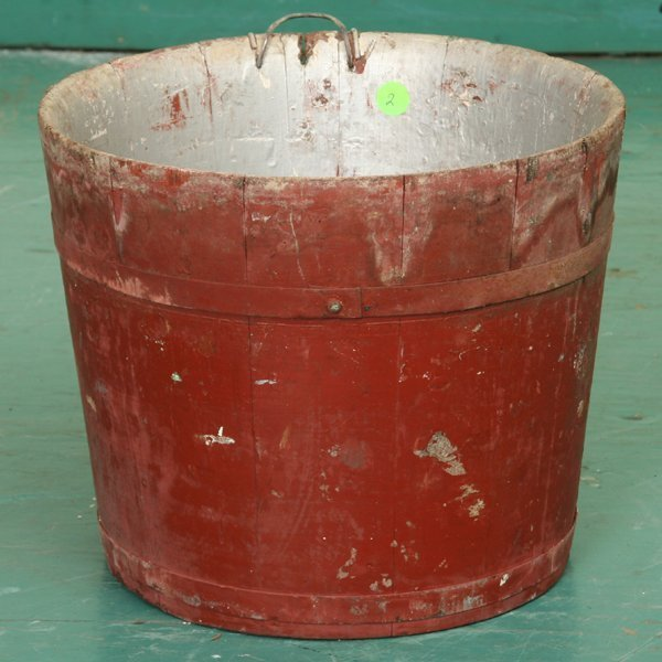 "2: Wooden sap bucket, New York state, 10""t 12"" diameter"