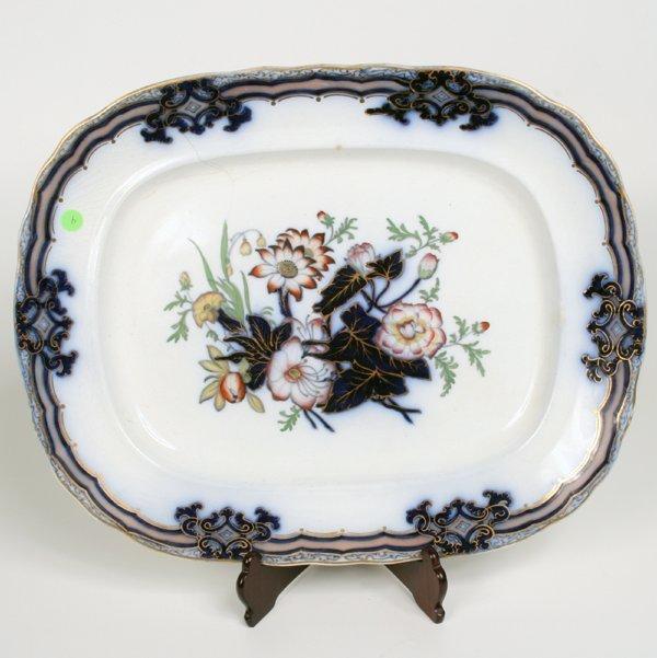 4: Large Flow Blue platter, impressed mark CM, Botanica