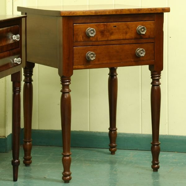 5: Early 1800 two drawer Sheraton stand, solid cherry,