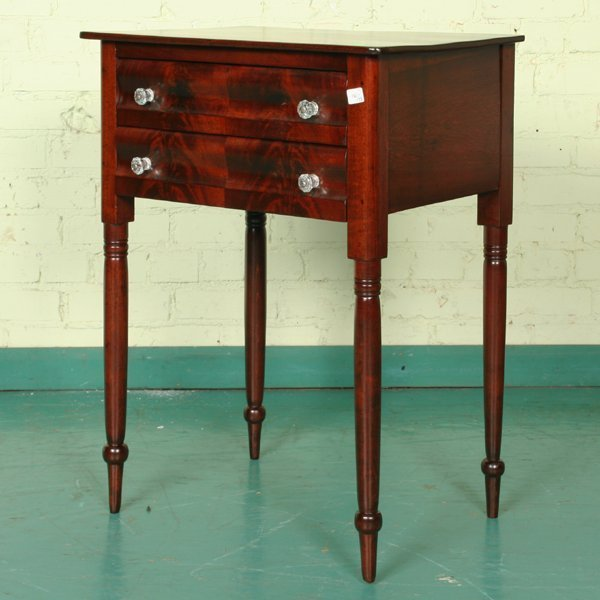 6: Early 1800 Empire two drawer stand, flame mahogany o