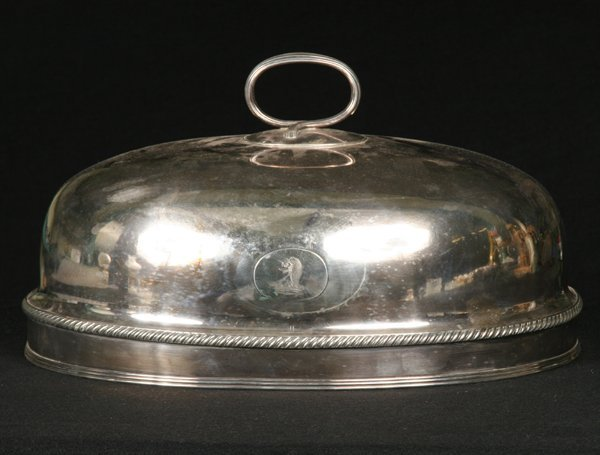 7: Circa 1800 large Sheffield plate dome, molded scroll