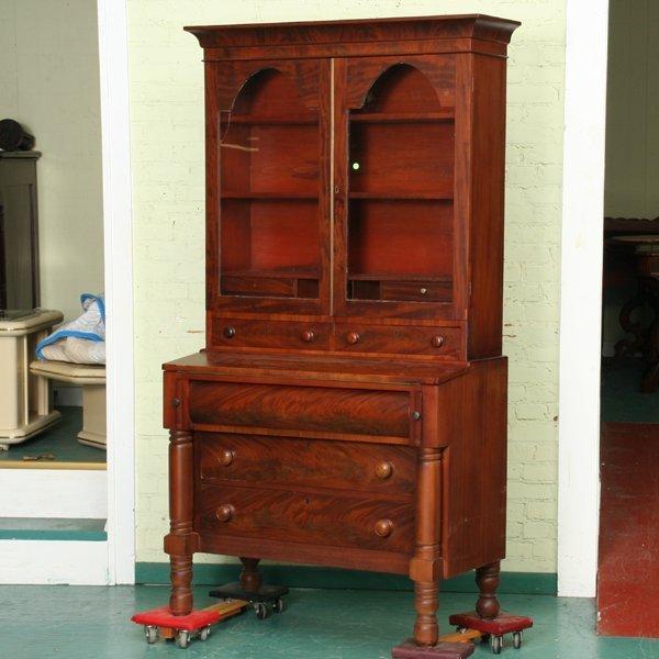 8: Early 1800 Sheraton secretary, flame mahogany, fold