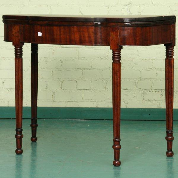 12: Early 1800 Sheraton fold over card table, mahogany,