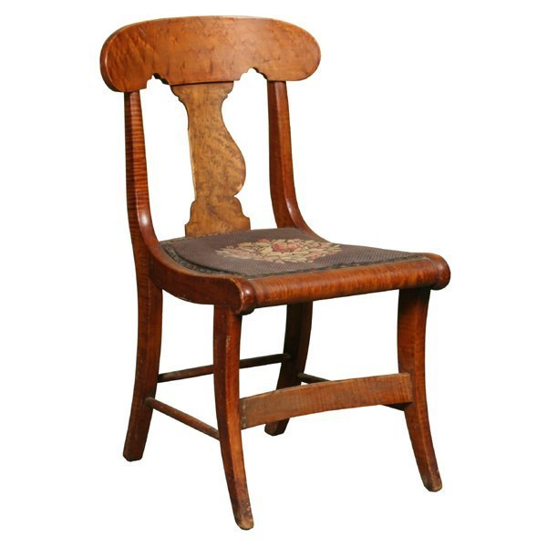 13: Early 1800 Empire saber leg chair, birds eye and so