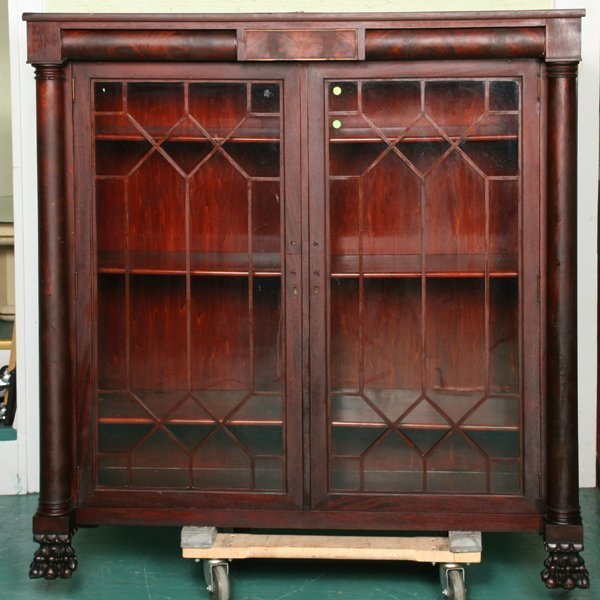 14: Fine Empire Revival double door bookcase, flame and