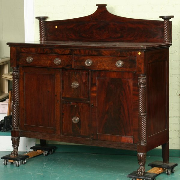 17: Early 1800 carved Federal sideboard, flame mahogany