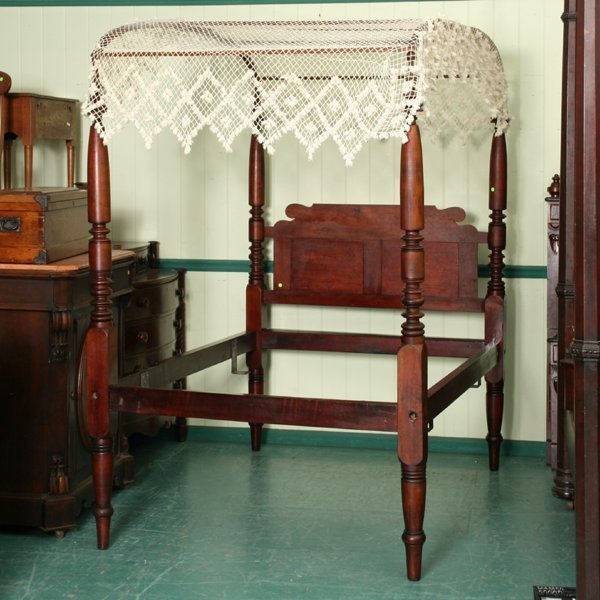 """23: Early 1800 Sheraton canopy bed, solid maple, 80""""t t"""