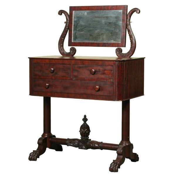 24: Exceptional early 1800 carved Federal dressing tabl
