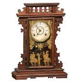 266 Late 1800 Eastlake Victorian mantle clock solid w