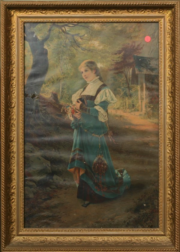 "1003: Victorian print of lady on wooded trial, 18"" x 27"