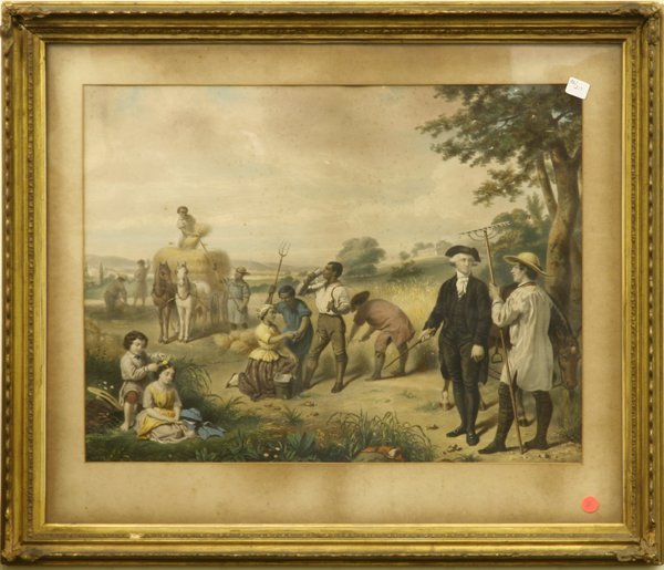 1011: Victorian colored print, George Washington in fie