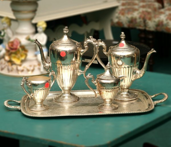 1013: Five piece silver on copper teaset, reeded body,