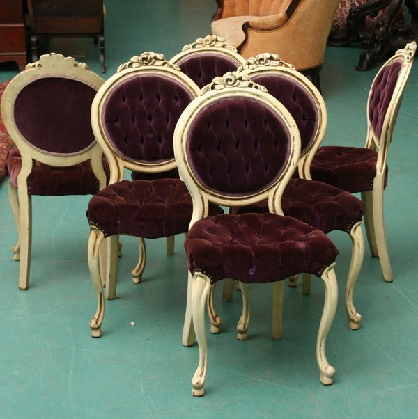 1022: Set of six Victorian style dining chairs, white p