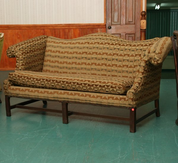 1104: Mid 1900's Chippendale style camel back sofa, mah