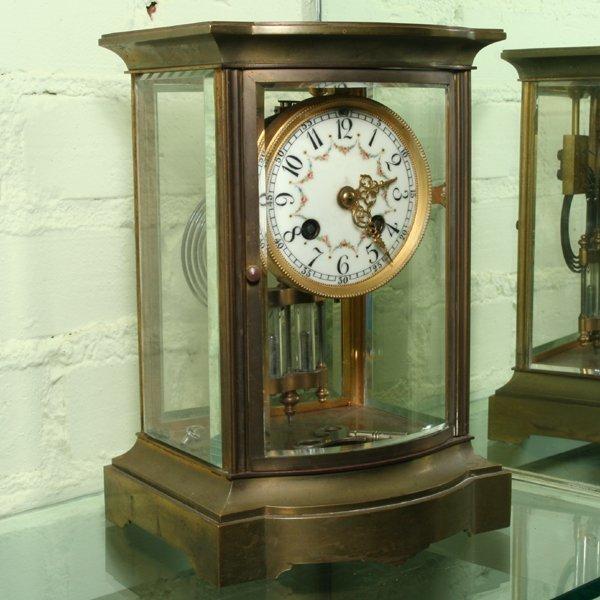 3: Crystal regulator mantle clock, solid brass, beveled