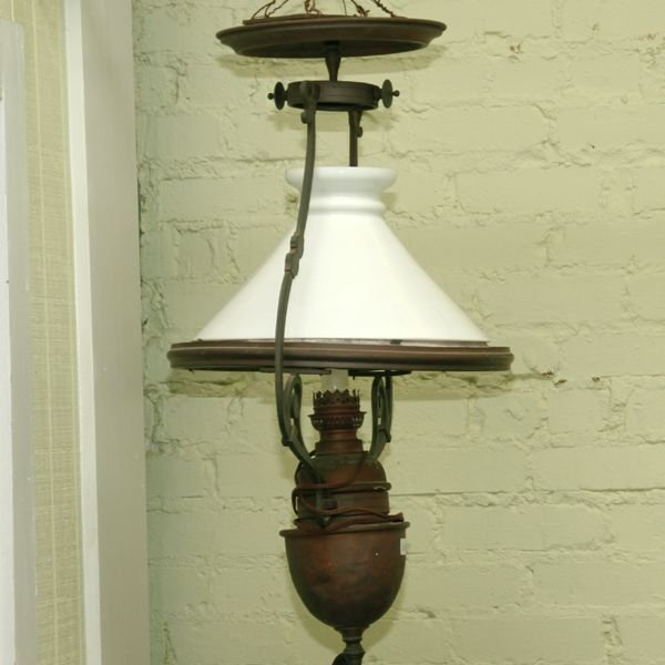 4: Rare 19th century hanging ships lamp, solid brass, c