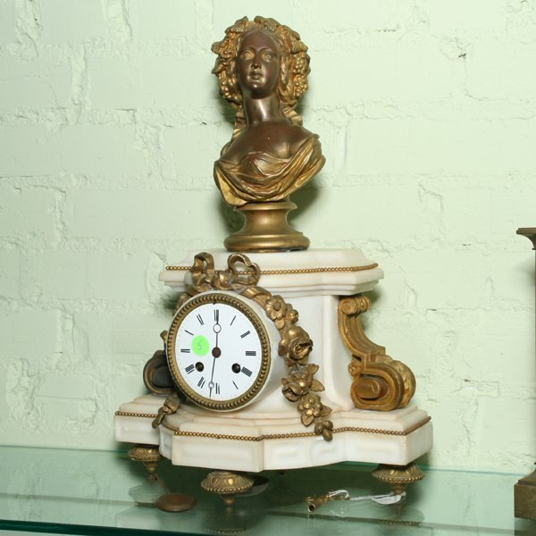 5: 19th century French mantle clock, white marble, gilt