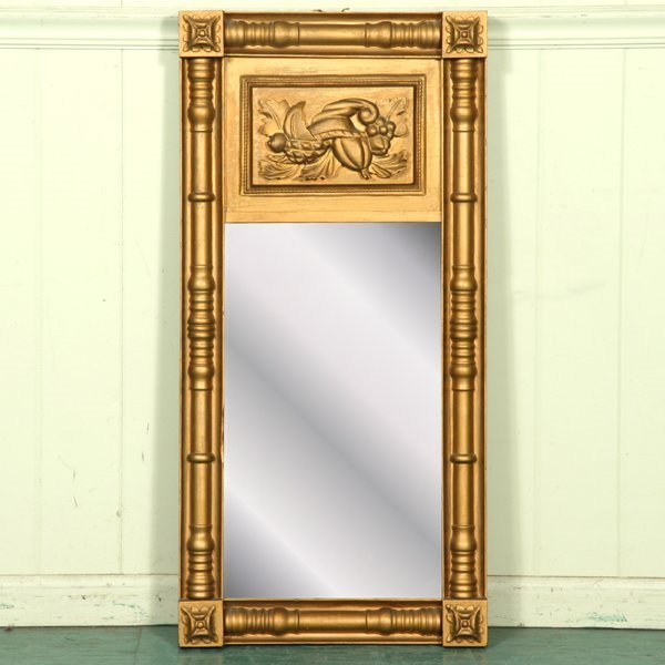 6: Early 1800 Federal wall mirror, cornucopia carved up