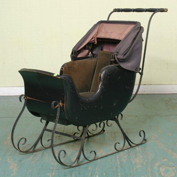 7: Unusual 19th century child's push sleigh, beautifull