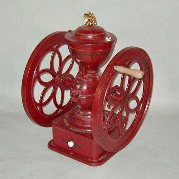 9: 19th century large double wheel cast iron coffee mil