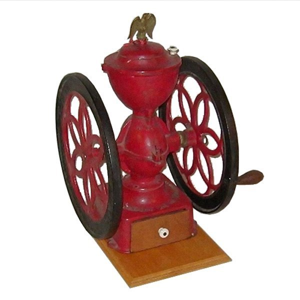 10: 19th century double wheel coffee mill, model # 7, E