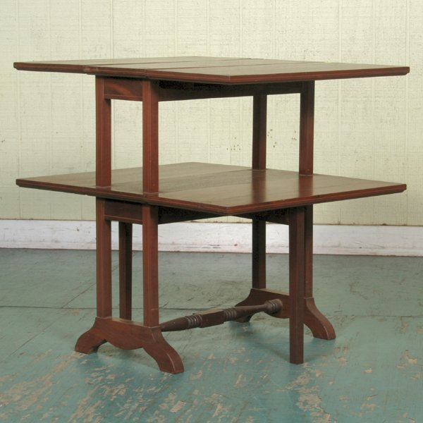 12: Unusual Hepplewhite style double tiered drop leaf e