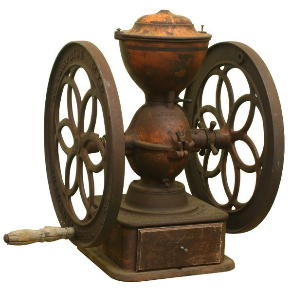14: Large 19th century double wheel coffee mill #9, Ent
