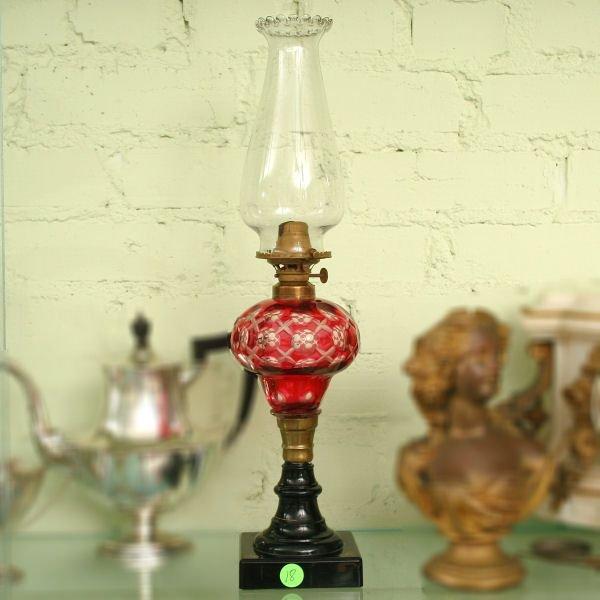 18: Mid 1800 kerosene lamp, cranberry cut to clear font