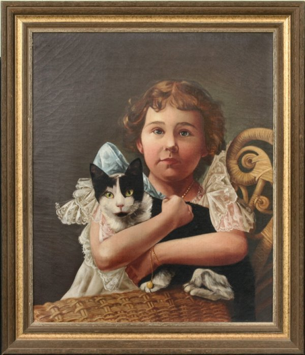 """21: Oil on canvas of young girl with cat, 20""""w 24""""t, wi"""