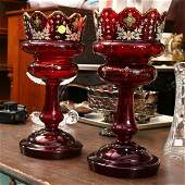 Pair Victorian ruby glass lusters, double row cut p