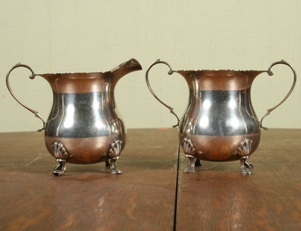 1001: Heavy Colonial Revival sterling sugar and creamer