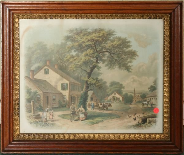 """1005: Victorian print """"Her First Love Letter"""", signed C"""