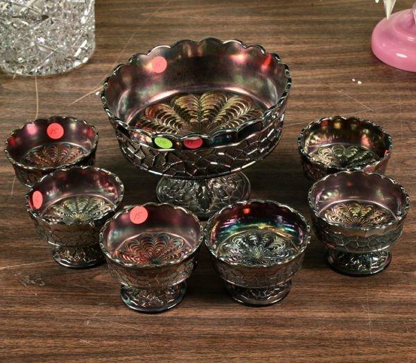 1015: Seven piece carnival glass dessert set, Fenton Gl