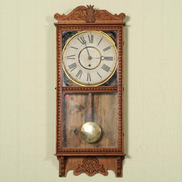 1020: Circa 1900 regulator wall clock, solid oak, Gilbe