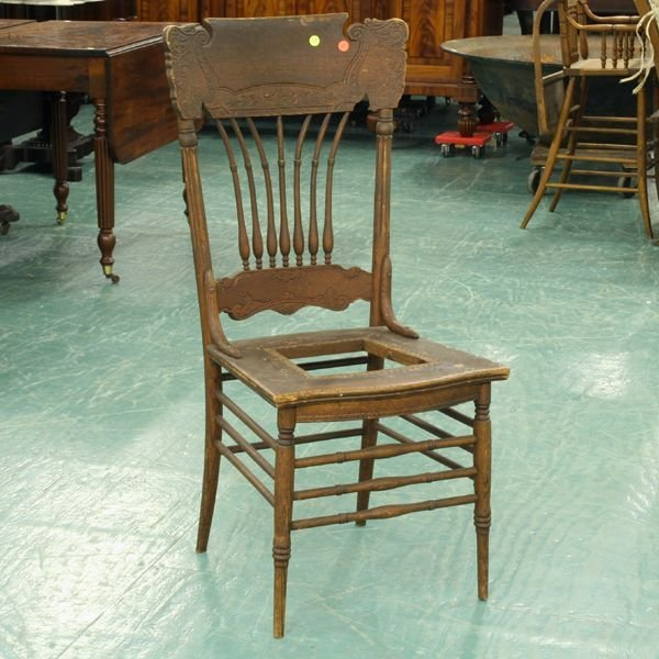 1023: Set of six early 1900 dining chairs, solid oak, b
