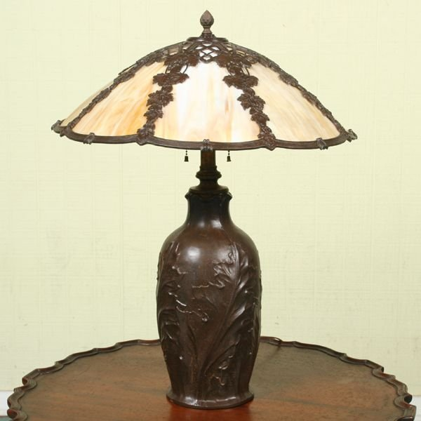 1087: Early 1900's lamp, signed Bradley & Hubbard, Conn