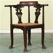 1098: Late 1800 Colonial Revival corner chair, solid ma