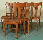 1187: Early 1900 set of six Colonial Revival dining cha