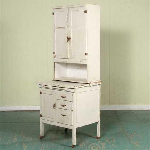 """1193: unusual small early 1900 hoosier cabinet, 27""""w, d"""